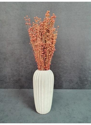 Kuru Çiçek Deposu Kuru Çiçek Keten Otu Demet 45 Cm Bordo  Pudra